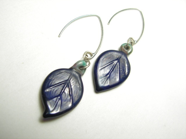 Navy Leaf Earrings
