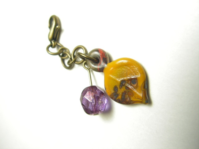 Amethyst and Gold Leaf Charm