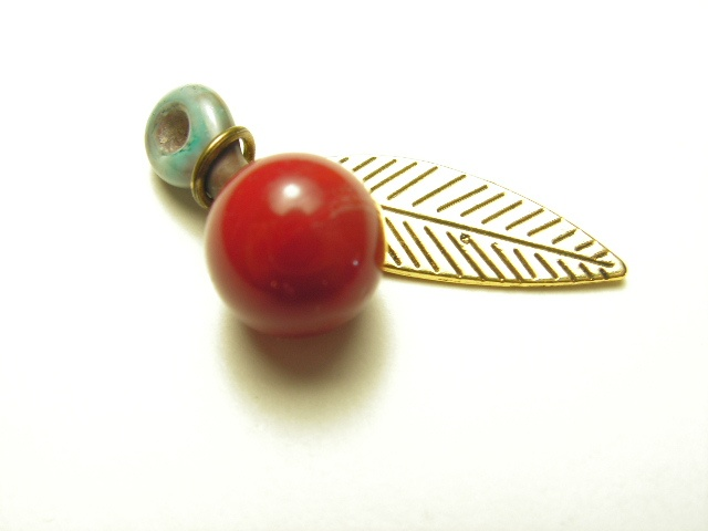 Red Berry with Brass Leaf