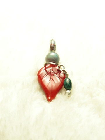 Red Holly Leaf Pendant with Turquoise Stone