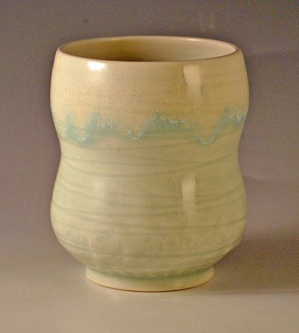 High fire porcelain teacup with layered glazes