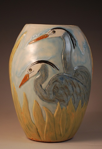 Carved Heron Vase