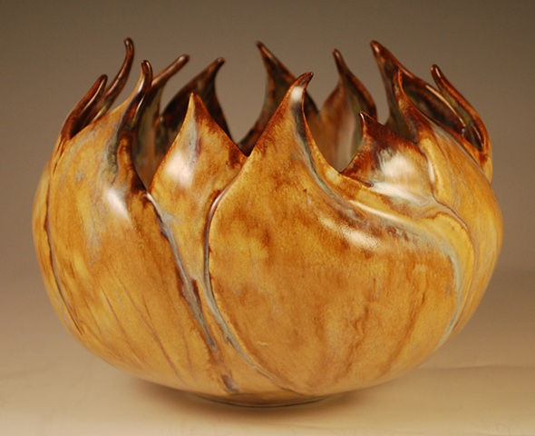 Carved Leaf Bowl-rutile