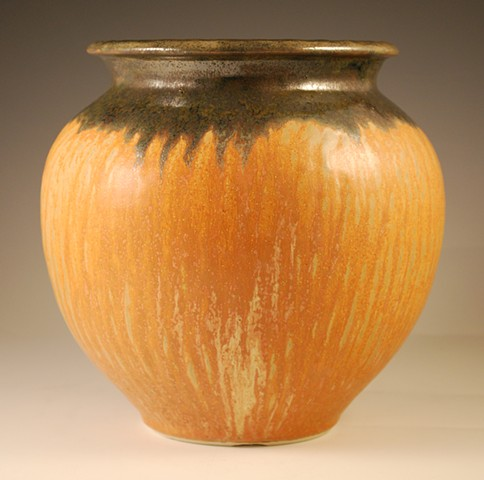 Burnt Orange Melon Vase