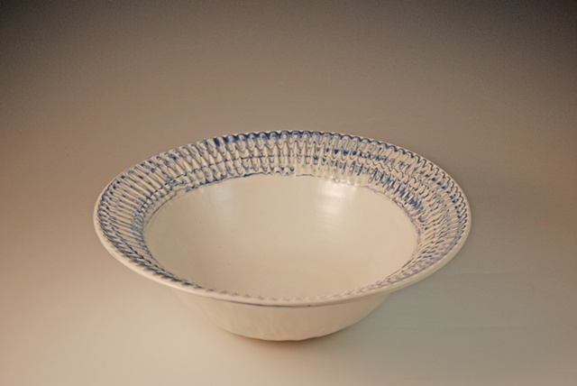 Bowl with blue varigated rim