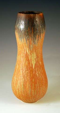 Tall Gourd Vase with layered glazes