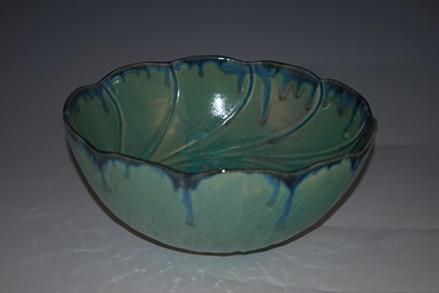Green Sprial Bowl, Medium