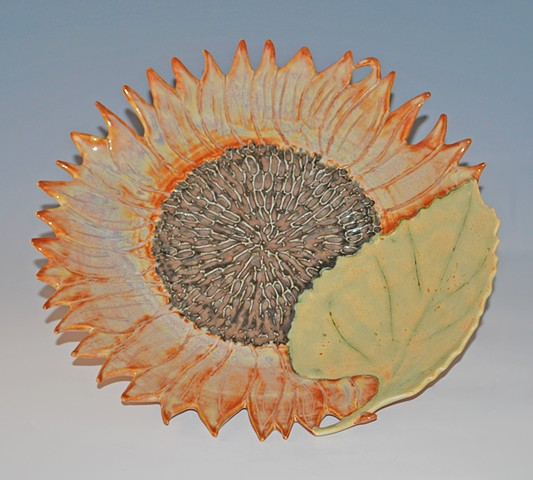 Porcelain Sunflower plate, high fired with food safe glazes