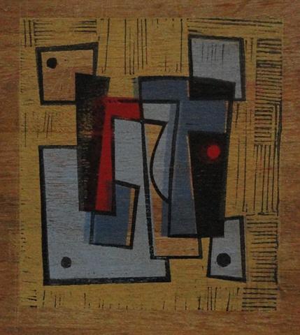 Untitled (Lichtenstein) monoprint on wood