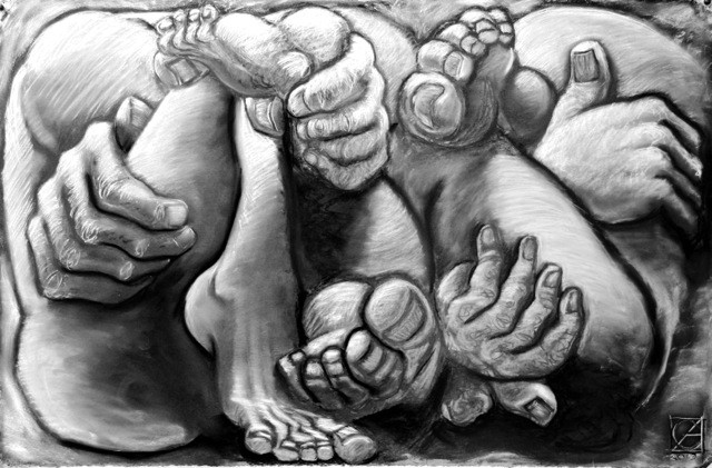 Jacob and Esau wrestling in their mother's womb.