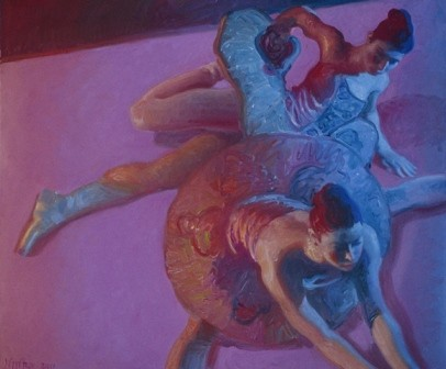 Two Dancers in Blue Light