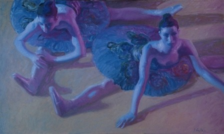 Dancers Stretching in Blue