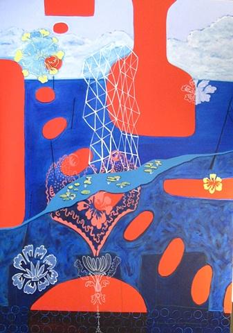 Underwater: Floral Heritage Wallpaper/Hearst Tower, Manhattan
