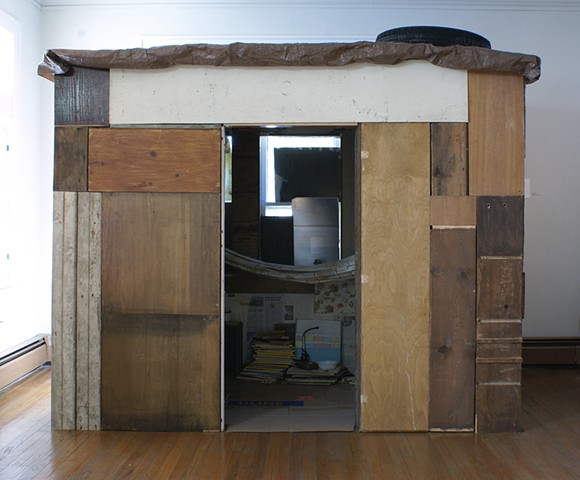 installation, site-specific, salvaged, found, shanty