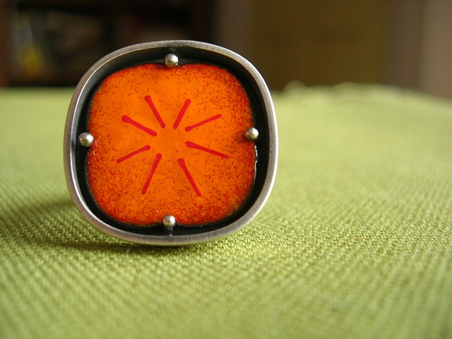 persimmon enamel silver ring janice ho