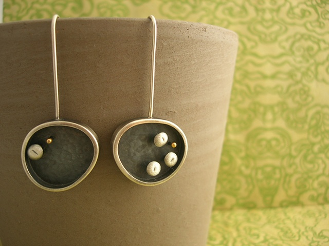 earrings silver gold 24k oxidized