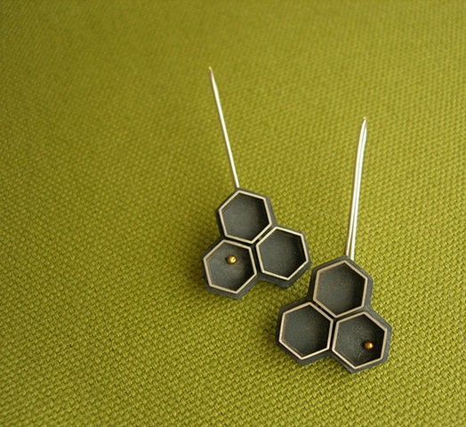 paper wasp earrings silver 24k gold