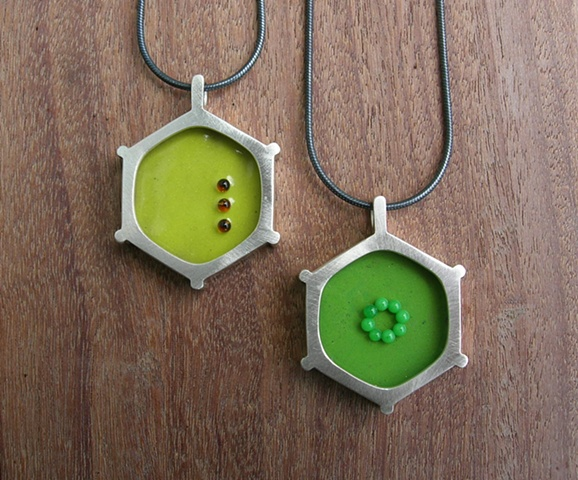 enamel necklace cell plant