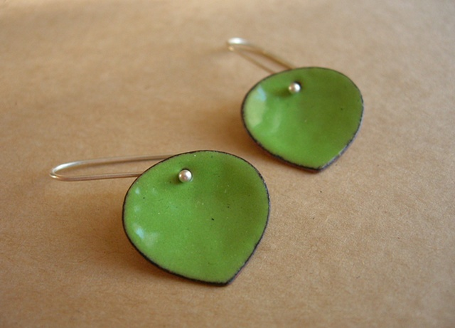 leaf enamel silver dangle earrings