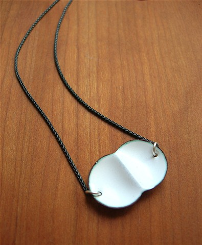 mitosis enameled white copper oxidized silver necklace science geek jewelry