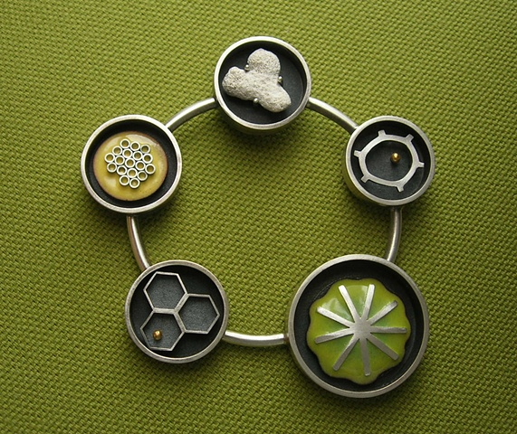 life cycle necklace silver enamel science janice ho