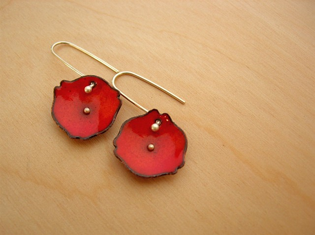 lilium earrings silver copper enamel red orange dish