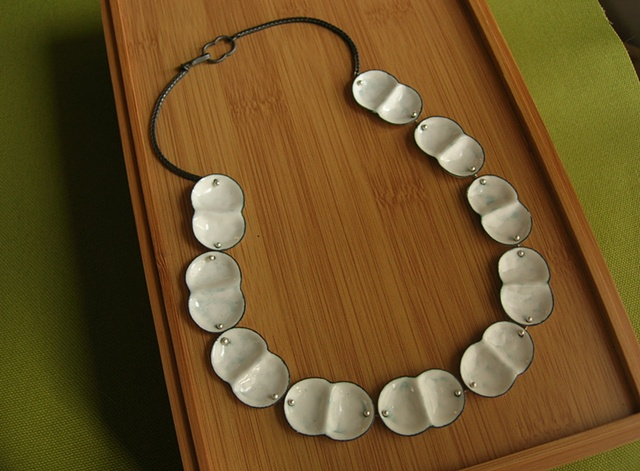 mitosis enamel pearl necklace silver oxidized