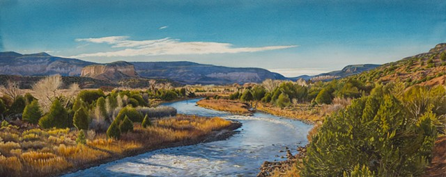 watercolor landscape of Chama River Canyon