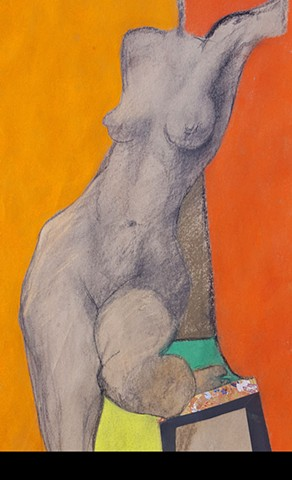 Pastel figure drawing of female nude by artist Lori Markman