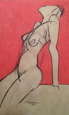 female nude figure drawing by artist Lori Markman
