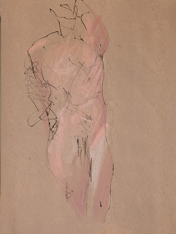 whimsical gesture figure drawing of nude male by artist Lori Markman