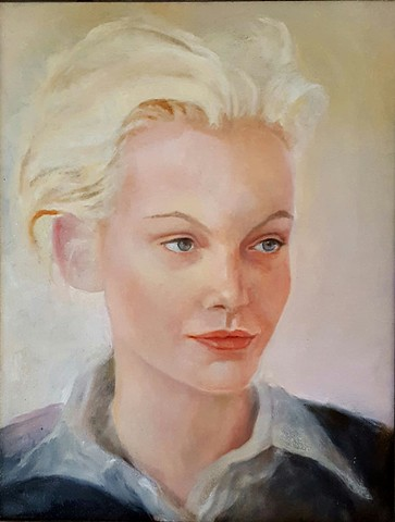 oil painting portrait of young blond woman by artist Lori Markman