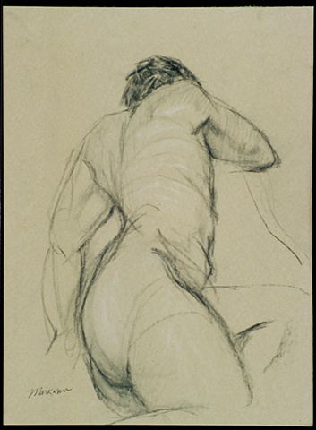 pastel drawing of male nude by artist Lori Markman