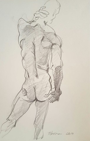 male nude gesture line drawing in pencil by artist Lori Markman
