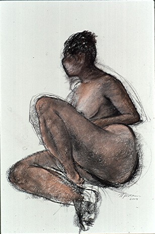 pastel figure drawing of a nude black woman by artist Lori Markman