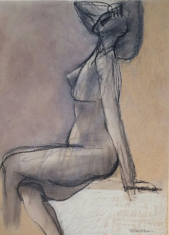 pastel drawing of female nude by artist Lori Markman