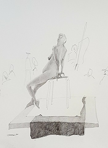 drawing of woman posing in art class by artist Lori Markman