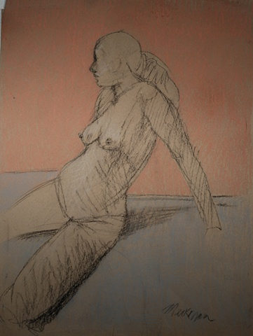 pastel drawing nude female figure figurative realism classical modern contemporary  grey pink