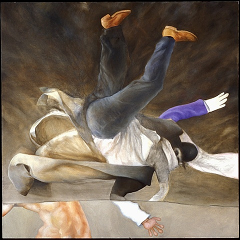 oil painting of man in suit and coat falling through space by artist Lori Markman