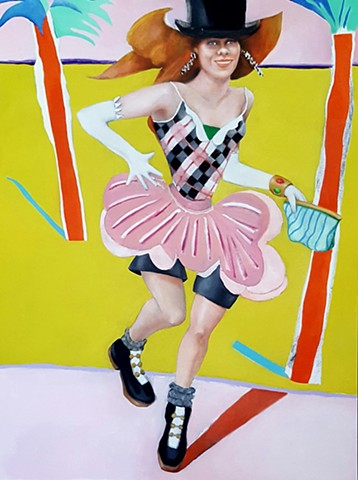oil painting of fashion model wearing top hat, sneakers, with palm trees