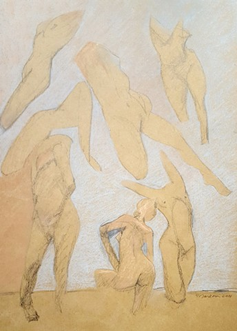 quick figure drawing of female nudes in pastel by artist Lori Markman