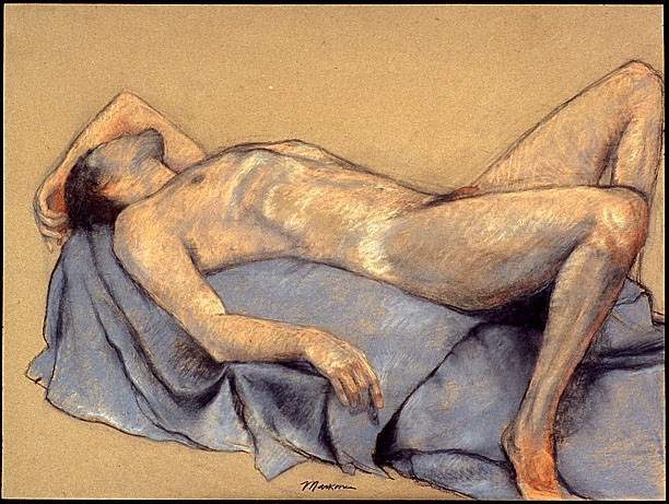 male nude pastel figure drawing by artist Lori Markman