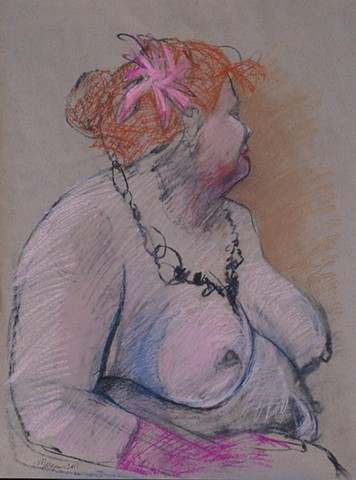 pastel nude female figure drawing by artist Lori Markman  redheaded fat woman drawing