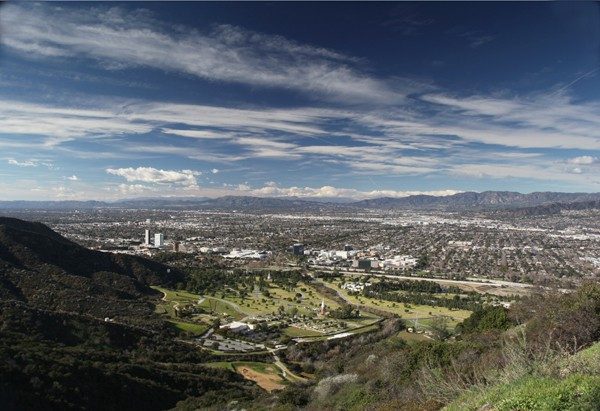 BURBANK,CA FROM THE WATER TOWER ABOVE FOREST LAWN, HOLLYWOOD HILLS