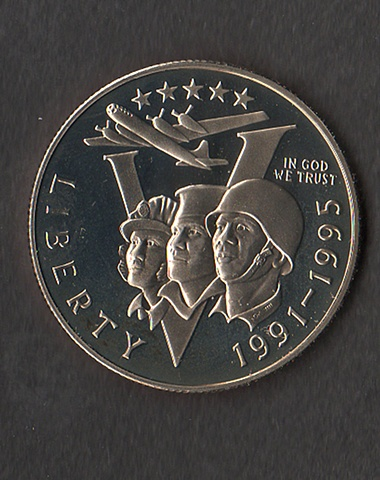 George Klauba, art design for U.S. Mint, WWII Commemorative Coin, 1991-91,