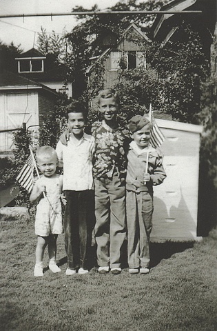 George with brothers and cousin