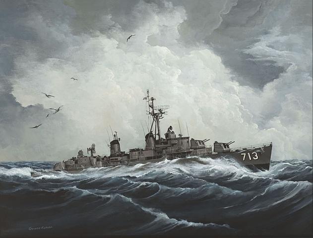 USS Kenneth D. Bailey DDR713, 1958, North Atlantic