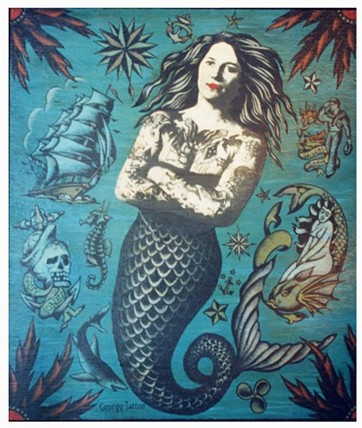 Untitled (Mermaid from tattoo painting series)