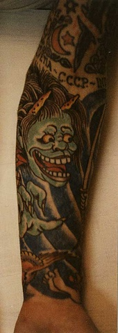 Right arm tattoo of Japanese Oni