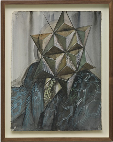 suited figure with star mask, architect wearing his work
